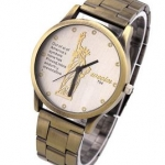 นาฬิกาข้อมือ สายโลหะ สี บรอนซ์ทอง สไตล์วินเทจ หน้าปัดสีขาว เป็นรูป เทพีสันติภาพ อเมริกา ของขวัญให้แฟน สุดหรู no 647281_2