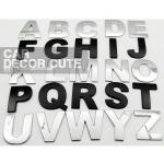 สติกเกอร์โลโก้ตัวอักษรโลหะ 3D - สีดำด้าน ตัวหนังสือตกแต่งรถยนต์ A-Z
