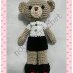 BE1ตุ๊กตาถักไหมพรมชุดนักศึกษาหมีน้อย สูง 12 นิ้ว