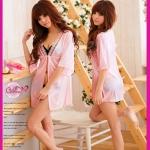 ชุดนอนเสื้อคลุม+จีสตริง สีชมพูหวานผ้ามันลื่น ใส่กับชุดอื่นน่ารักมาก