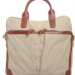 กระเป๋าถือ ผู้ชาย ใส่ Notebook หรือ เอกสาร ผ้าแคนวาส มีสายสะพายแยก สีครีม