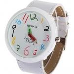 นาฬิกาข้อมือ ผู้หญิง ผู้ชาย ใส่ได้ สายหนัง ลายกราฟฟิค Paint รูปดินสอ ลายการ์ตูน ตัวเลขน่ารัก สีขาว ของขวัญสุดเก๋ no 824387_2