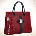 กระเป๋าใส่เอกสารผู้หญิง กระเป๋าถือ ใส่เอกสาร หนัง pu หนังเงา อัดลาย หนังจรเข้ สีดำ และ สีเแดง กระเป๋าถือ สวยหรู มีสไตล์ 285358