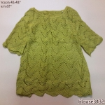blouse3432 เสื้อกันหนาวไหมพรมถักเนื้อแน่น คอปาด แขนสามส่วน สีเหลืองมัสตาร์ด