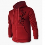 เสื้อ แจ็คเก็ต ผู้ชายแขนยาว มีฮู้ด สีแดง แบบซิปรูดด้านหน้า มีกระเป๋า 2 ข้าง เสื้อกันหนาว เพ้นท์ ลายมังกร เท่ ๆ เสื้อหมวก เสื้อคลุมราคาถูก 312487_3