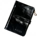 กระเป๋าสตางค์ผู้หญิง ใบสั้น กระเป๋าสตางค์ หนังวัวแท้ ลง Oil wax ใช้ยิ่งนาน ยิ่งสวย มีช่องใส่บัตรเยอะ มีช่องใส่เหรียญ สีดำ คลาสสิค 764078