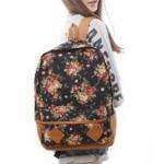 กระเป๋าเป้ สะพายหลัง ใส่เสื้อผ้า ใส่หนังสือไปเรียน ลายดอกไม้ หวาน ๆ สาวคิกขุ สไตล์ญึ่ปุ่น ผ้า Canvas สีน้ำตาล no 2783519_2