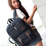 กระเป๋าเป้ กระเป๋าสะพายหลัง กระเป๋าเป้ สไตล์ กระเป๋าเดินทาง แบบสี่เหลี่ยม สีดำ แบบสวย ใส่ Notebook ได้ มีบุกันกระแทก ผ้าแคนวาส เท่ ๆ 996595