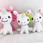ราคาส่ง พวงกุญแจยูนิคอร์นถักไหมพรม ขนาด 4 นิ้ว unicorn crochet keychain 4 inch