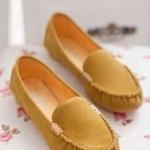 รองเท้าหุ้มส้น ผู้หญิง รองเท้าส้นแบน แบบเรียบ หนังแท้ โชว์สีสัน รองเท้าปิดหน้าเท้า ลดราคา รองเท้าใส่เที่ยว ใส่ทำงาน สีเหลือง 556014_3