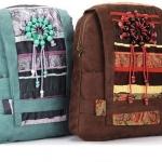กระเป๋าเป้ กระเป๋าสะพายหลัง ผ้าแคนวาส Backpack สไตล์ วินเทจ แนว สาวเซอร์ สุดคลาสสิค สีฟ้า สีน้ำตาล แต่งด้วย ลูกปัด วงกลม แบบเท่ ๆ 683712