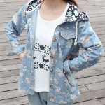 แจ็คเก็ต ยีนส์ ผู้หญิง Jacket ยีนส์ แบบตัวใหญ่ ใส่หลวม ๆ แบบมีฮู้ด เสื้อหมวกยีนส์ เพ้นท์ ลายดอกไม้ หวาน สไตล์ สาวญี่ปุ่น สวย เก๋ 487857