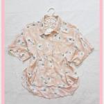 **สินค้าหมด blouse2032 เสื้อแฟชั่นไซส์ใหญ่คอปก กระดุมหน้า ชายหลังยาว ผ้าชีฟองโปร่งลายดอกไม้สีส้มโอลด์โรสอ่อน