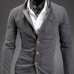 เสื้อสูท ผู้ชาย เสื้อ Jacket นอก แขนยาว ผ้า Cotton กระดุมหน้า สีเทา เรียบหรู มีกระเป๋า หน้า หลายจุด เสื้อคลุม คอปก ดีไซน์ เก๋ 278521_1