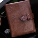 กระเป๋าสตางค์ผู้ชาย กระเป๋าสตางค์ ใบสั้น หนังแท้ หนังวัวแท้ สีน้ำตาล โชว์ลายหนัง แบบคลาสสิค กระเป๋าให้พ่อ ให้แฟน ดีไซน์สวย มีสายรัด 943550