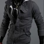 เสื้อกันหนาวผู้ชาย เสื้อคลุมผู้ชายแขนยาว มีฮูด เสื้อ Jacket ซิปหน้า เนื้อผ้าใส่สบาย มีกระเป๋าข้าง ดีไซน์ 2 ชั้น สีเทาเข้ม 67516_1