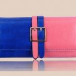 กระเป๋าสตางค์ผู้หญิง ใบยาว กระเป๋าสตางค์ แฟชั่น หนังแท้ สีลูกกวาด ทูโทน สีน้ำเงิน ตัด กับ สีชมพูสด กระเป๋าสตางค์ แบบสวย ๆ มีระดับ 389777
