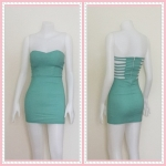 dress2312 เดรสแฟชั่นเกาะอกเสริมฟองน้ำบาง หลังริ้วเป็นเส้นๆ ซิปหลัง ผ้าสกินนี่(ยืดได้เยอะ) สีเขียวมิ้นท์ Size M