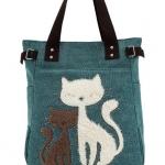 กระเป๋าสำหรับคนรักแมว กระเป๋าถือ ผ้า Canvas อย่างดี ดีไซน์ รูปแมวคู่ น่ารักสุด ๆ กระเป๋าสะพายข้าง ผู้หญิง ลายแมว สีเขียว 107424_1
