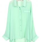 เสื้อเชิ้ต ผ้าชีฟอง แขนยาว สีพื้น สีเขียว no 68648_1