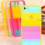 เคส iphone 5 สีรุ้ง Rainbow case ขอบสีเขียว ฟรีปากกา Touch screen