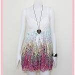 **สินค้าหมด Sale!! dress2006 เดรสแฟชั่นผ้าชีฟองสายเดี่ยวชายกระโปรงลายดอกไม้ สีชมพู
