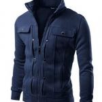 เสื้อ แจ็คเก็ต ผู้ชาย เสื้อแขนยาว เสื้อคลุม สีน้ำเงินเข้ม ดีไซน์ ตีลายเส้น กระดุมแบบหลอก มีกระเป๋า บนหน้า 2 ข้าง เสื้อ Jacket ซิปหน้า แบบสวย 833858_3