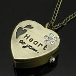 นาฬิกาล็อคเก็ต สร้อยคอนาฬิกา สไตล์วินเทจ รูปหัวใจ ประดับเพชร คริสตัล สลัก Heart to you no 835498