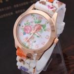 นาฬิกาข้อมือผู้หญิง สายซิลิโคน ใส่กับชุดเดรส นาฬิกา ลายดอกกุหลาบ เข้ากับ ชุดเดรส สีชมพู หวาน ๆ no 440174_1