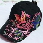 หมวก cap หมวกมีปีก หมวกเบสบอล ปักลาย ผีเสื้อ สีดำ หมวกแก๊ป งาน Hand made ไม่ซ้ำใคร สายด้านหลังปรับขนาดตามต้องการ 635599