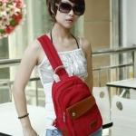 กระเป๋าคาดอก ผู้หญิง ผู้ชาย ใช้ได้ สายสะพาย ดีไซน์ เป็นซิปรูด ปรับเป็น กระเป๋าสะพายหลัง วัสดุผ้าแคนวาส อย่างดี แต่ง หนังแท้ สีแดง 524690_5
