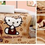 ผ้าห่มกำมะหยี่ เนื้อนุ่ม Hello Kitty สีน้ำตาล