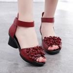 รองเท้าหุ้มส้น ผู้หญิง รองเท้าหนังแท้ มีส้นเล็กน้อย ลายดอกไม้ ดอกเดซี่ รองเท้า ใส่เที่ยว ใส่ทำงาน สวย ๆ 317129