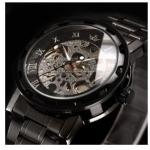 นาฬิกาข้อมือ โชว์กลไก Mechanical watch นาฬิกาข้อมือผู้ชาย แบบไม่ต้องใส่ถ่าน สาย สแตนเลสสีดำ หน้าปัดสีดำ คลาสสิค มาดขรึม 92826_2