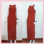 **สินค้าหมด dress2216 แม็กซี่เดรส/เดรสยาวแฟชั่น แขนกุด ซิปหลัง กระโปรงผ่า ผ้ายืดเนื้อหนา สีส้มอิฐ