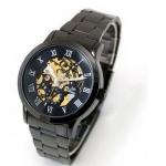 นาฬิกาโชว์กลไก นาฬิกาข้อมือเปลือย นาฬิกาข้อมือผู้ชาย แบบ Mechanical watch สาย Titanium สีดำ หน้าปัดดำ คลาสสิค 30735