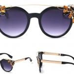 แว่นตากันแดด แว่นตาแฟชั่น แว่นผู้หญิง แบบชิคชิค ดีไซน์ แว่นตาทรงกลม ดีไซน์ ปิดขอบ ด้วยคริสตัลแท้ สุดหรู แว่นตาใส่เที่ยว สุดเก๋ 131150