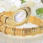 นาฬิกาข้อมือ ผู้หญิง นาฬิกาข้อมือสแตนเลส แบบ กำไลข้อมืองู สุดหรู สีทอง สีเงิน ตาฝังเพชร 982085