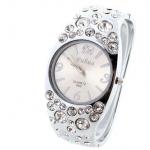 นาฬิกาข้อมือผู้หญิง นาฬิกาข้อมือแบบกำไล สีน้ำตาล ฝัง คริสตัล เพชร เม็ดใหญ่ สลับเล็ก สีเงิน นาฬิกาข้อมือ ออกงาน ใส่กับชุดราตรี 10361_1