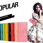 กระเป๋าสตางค์ผู้หญิง ใบยาว กระเป๋าสตางค์หนังแท้ ด้านนอกเป็น หนังแก้ว สวยใส กระเป๋าสตางค์ถือ เข้ากับ ชุดเดรส สีต่าง ๆ กว่า 10 สี 750064
