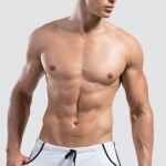 กางเกงว่ายน้ำผู้ชาย แบบ Boxers ขาสั้น สีขาว สินค้าคุณภาพส่งออก size L