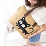 กระเป๋าถือ ผ้าแคนวาส กระเป๋าถือผู้หญิง ใส่หนังสือ ใส่ของกระจุกจิก กระเป๋า ลายแมว ญี่ปุ่น คาบปลา น่ารัก สุด ๆ คนรักแมว พลาดไม่ได้นะคร้า 203955