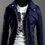เสื้อกันหนาวผู้ชาย เสื้อคลุมผู้ชายแขนยาว สไตล์ แจ็คเก็ตยีนส์ สไตล์ คาวบอย Jacket สีน้ำเงิน คอเปิด ซิปด้านหน้า กระดุมปิดทับ 681726_1