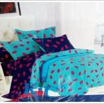 ชุดผ้าปูที่นอน ขนาด 6 ฟุต 5 ชิ้น พร้อม ผ้านวมหนานุ่ม สีฟ้า สลับ น้ำเงิน ลายลิปติก ทั้งผืน ดู คลาสสิค จี๊ดจ๊าด sn004