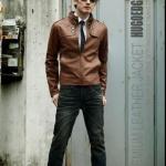 เสื้อคลุมผู้ชายแขนยาว สไตล์ แจ็คเก็ตหนัง สวยเท่ มีสไตล์ เสื้อ Jacket หนัง คอตั้ง แต่งกระดุมที่คอ แบบพอดีตัว สี น้ำตาลอ่อน no 610224