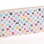 กระเป๋าสตางค์ Lv กระเป๋าสตางค์ผู้หญิง ใบยาว หนัง Pu กันน้ำ ซิปรอบ 2 ช่อง สีขาว no 780759