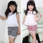 ชุดเด็ก แต่งลูกไม้ เสื้อพร้อมกางเกง น่ารักแบบไทย ๆ no 95477