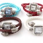 นาฬิกาข้อมือผู้หญิง นาฬิกาข้อมือแบบ กำไล หนักถัก เป็นเกลียว แบบโบราณ คลาสสิค สีดำ แดง ฟ้า ชมพู น้ำเงิน น้ำตาล ม่วง ส้ม เงิน 611033
