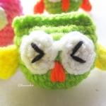 พวงกุญแจนกฮูกจิ๋ว 1.5 นิ้ว owl amigurumi crochet keychain 1.5 inches