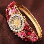 นาฬิกาข้อมือ ใส่ออกงาน สุดหรู แบบ กำไล ทอง ติดเพชร ติดผีเสื้อ หวาน ๆ ติดดอกไม้ กำไลข้อมือแบบนาฬิกา สุดหรู ของขวัญให้แฟน ใส่ออกงาน 591281